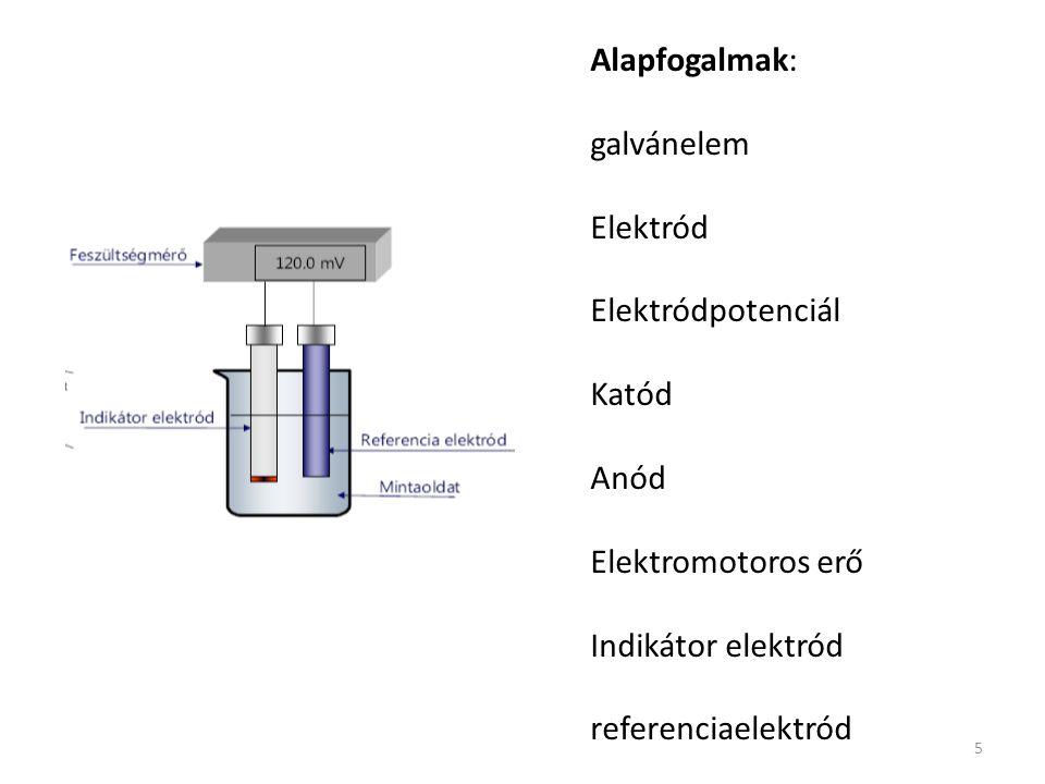 5 Alapfogalmak: galvánelem Elektród Elektródpotenciál Katód Anód Elektromotoros erő Indikátor elektród referenciaelektród