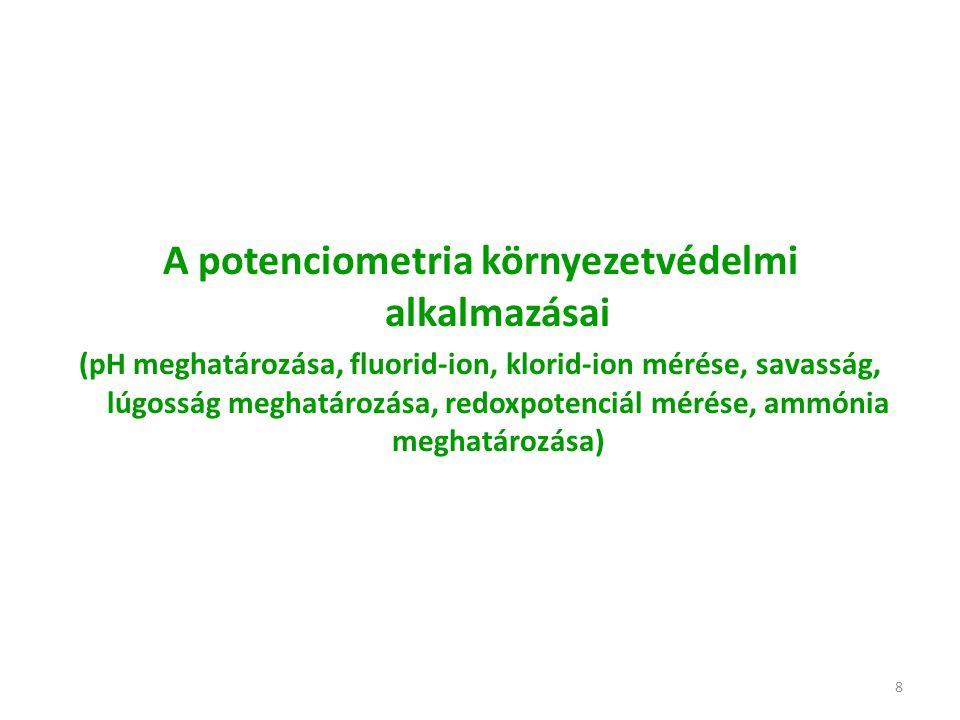 8 A potenciometria környezetvédelmi alkalmazásai (pH meghatározása, fluorid-ion, klorid-ion mérése, savasság, lúgosság meghatározása, redoxpotenciál mérése, ammónia meghatározása)