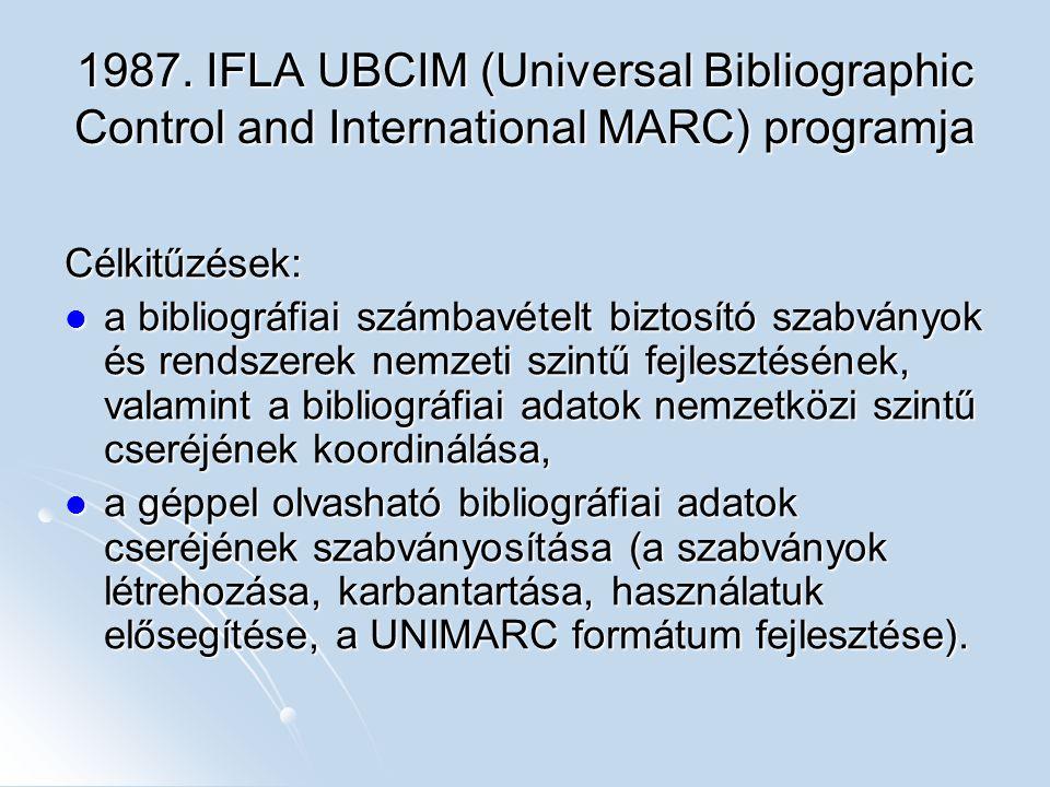 1987. IFLA UBCIM (Universal Bibliographic Control and International MARC) programja Célkitűzések: a bibliográfiai számbavételt biztosító szabványok és
