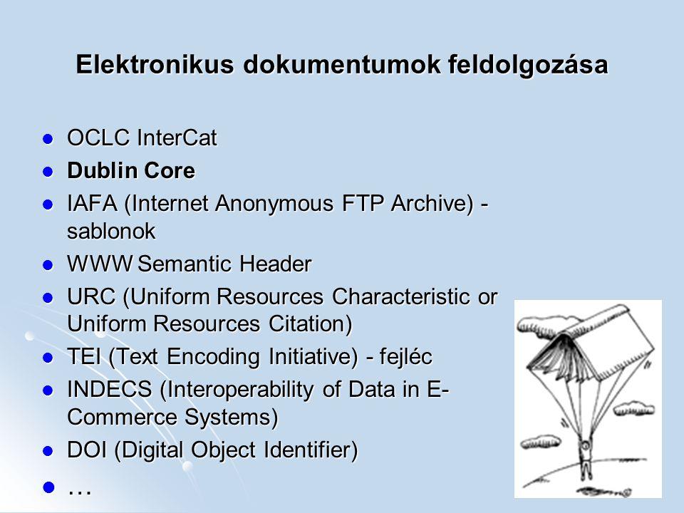 Elektronikus dokumentumok feldolgozása OCLC InterCat OCLC InterCat Dublin Core Dublin Core IAFA (Internet Anonymous FTP Archive) - sablonok IAFA (Inte