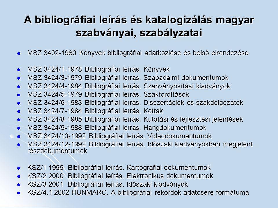 A bibliográfiai leírás és katalogizálás magyar szabványai, szabályzatai MSZ 3402-1980 Könyvek bibliográfiai adatközlése és belső elrendezése MSZ 3402-
