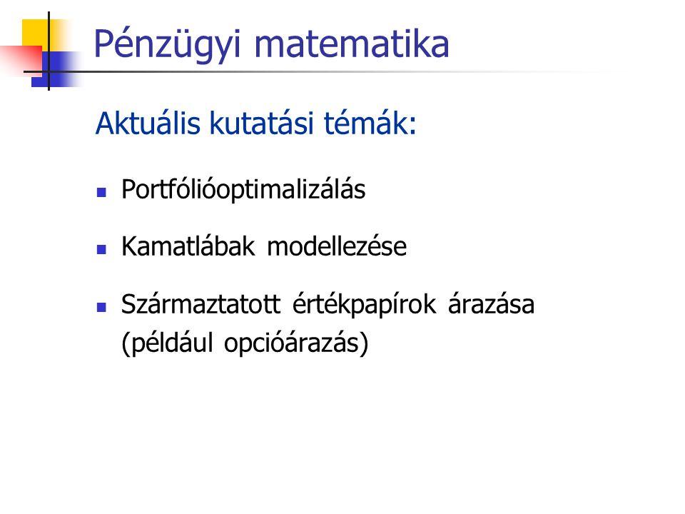 Pénzügyi matematika Aktuális kutatási témák: Portfólióoptimalizálás Kamatlábak modellezése Származtatott értékpapírok árazása (például opcióárazás)