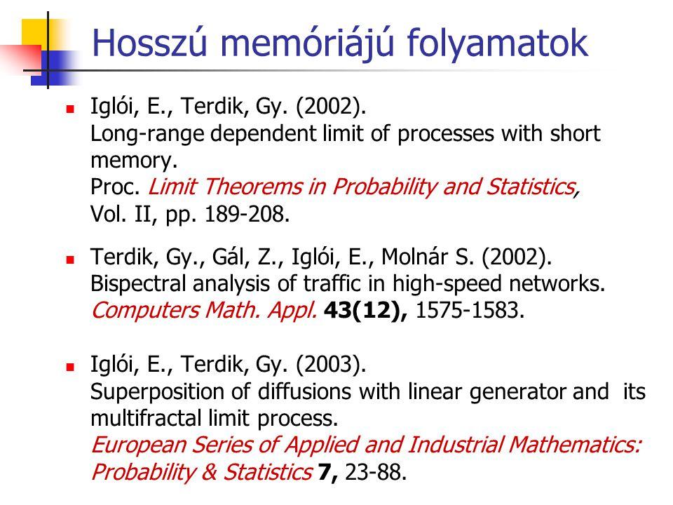 Hosszú memóriájú folyamatok Iglói, E., Terdik, Gy. (2002). Long-range dependent limit of processes with short memory. Proc. Limit Theorems in Probabil