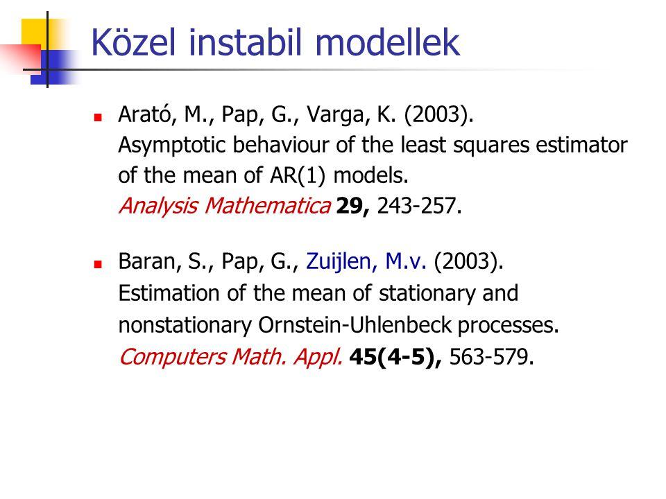 Közel instabil modellek Arató, M., Pap, G., Varga, K. (2003). Asymptotic behaviour of the least squares estimator of the mean of AR(1) models. Analysi