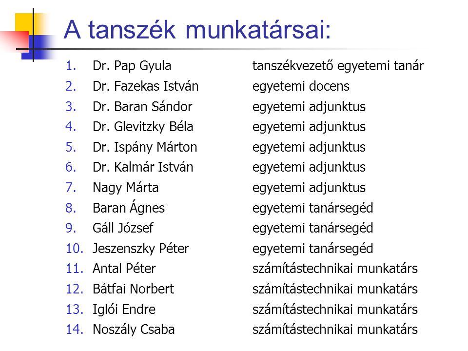 A tanszék munkatársai: 1.Dr. Pap Gyulatanszékvezető egyetemi tanár 2.Dr. Fazekas Istvánegyetemi docens 3.Dr. Baran Sándoregyetemi adjunktus 4.Dr. Glev
