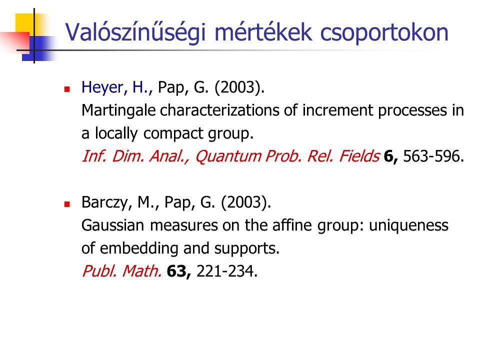 Valószínűségi mértékek csoportokon Heyer, H., Pap, G. (2003). Martingale characterizations of increment processes in a locally compact group. Inf. Dim
