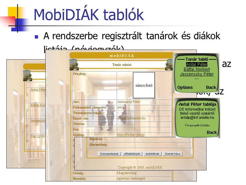 MobiDIÁK tablók A rendszerbe regisztrált tanárok és diákok listája (névjegyzék) A rendszer egyik központi eleme – eljutás az információkhoz (egyéni ho