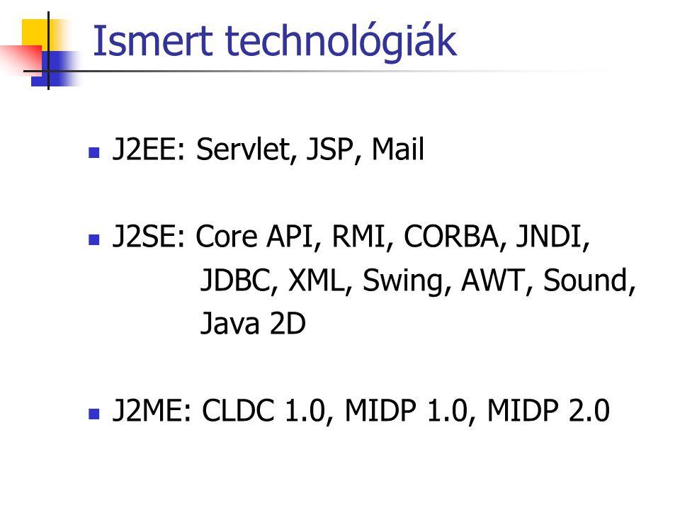 Ismert technológiák J2EE: Servlet, JSP, Mail J2SE: Core API, RMI, CORBA, JNDI, JDBC, XML, Swing, AWT, Sound, Java 2D J2ME: CLDC 1.0, MIDP 1.0, MIDP 2.