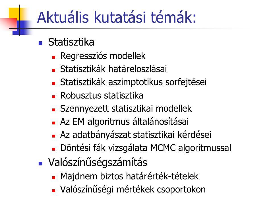 Aktuális kutatási témák: Statisztika Regressziós modellek Statisztikák határeloszlásai Statisztikák aszimptotikus sorfejtései Robusztus statisztika Sz
