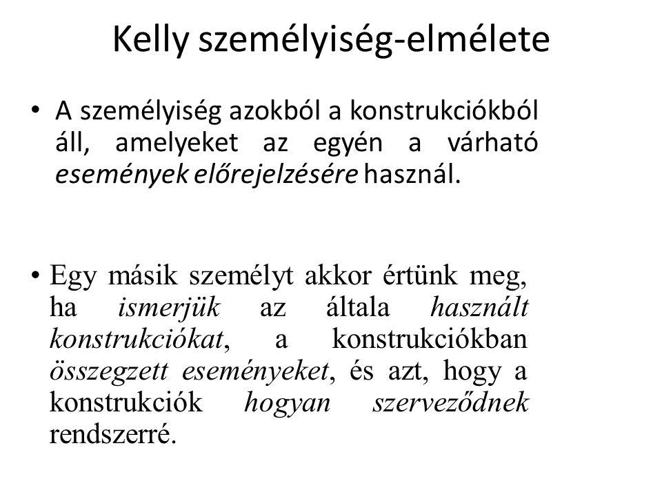 Kelly személyiség-elmélete A személyiség azokból a konstrukciókból áll, amelyeket az egyén a várható események előrejelzésére használ.