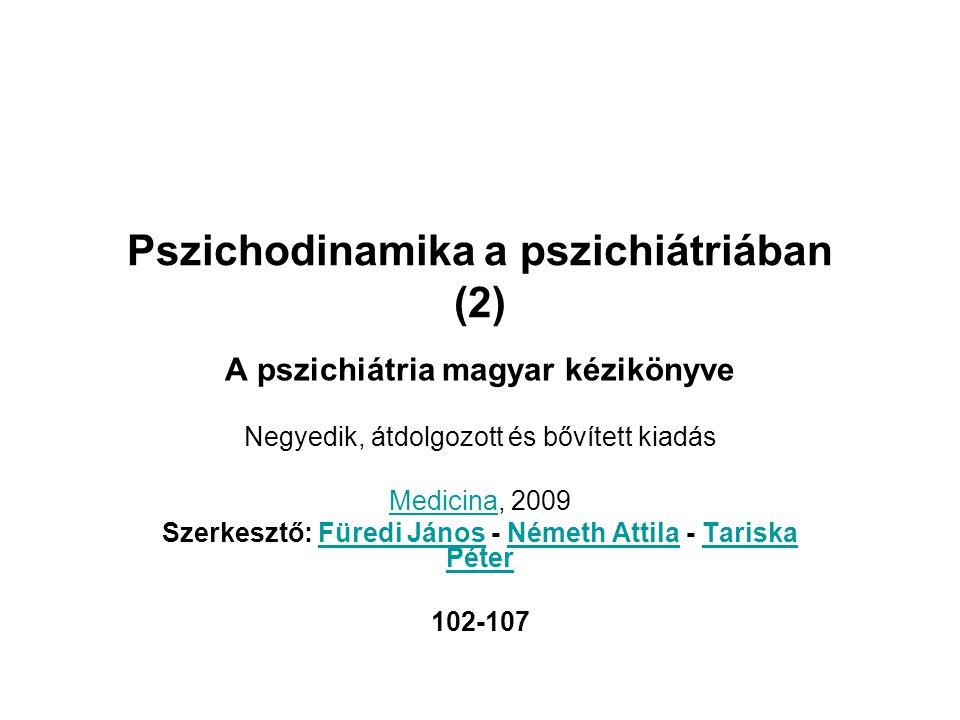 Pszichodinamika a pszichiátriában (2) A pszichiátria magyar kézikönyve Negyedik, átdolgozott és bővített kiadás MedicinaMedicina, 2009 Szerkesztő: Für