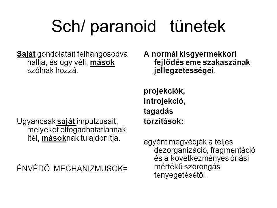 Sch/ paranoid tünetek Saját gondolatait felhangosodva hallja, és ügy véli, mások szólnak hozzá. Ugyancsak saját impulzusait, melyeket elfogadhatatlann