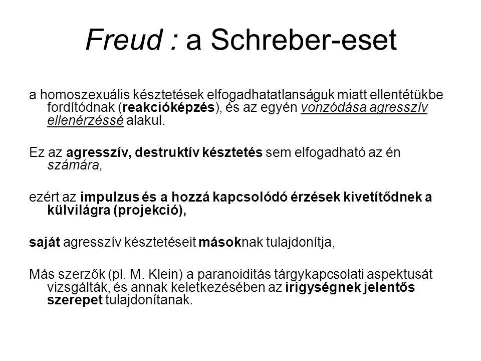 Freud : a Schreber-eset a homoszexuális késztetések elfogadhatatlanságuk miatt ellentétükbe fordítódnak (reakcióképzés), és az egyén vonzódása agressz