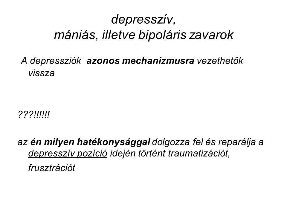 depresszív, mániás, illetve bipoláris zavarok A depressziók azonos mechanizmusra vezethetők vissza ???!!!!!! az én milyen hatékonysággal dolgozza fel