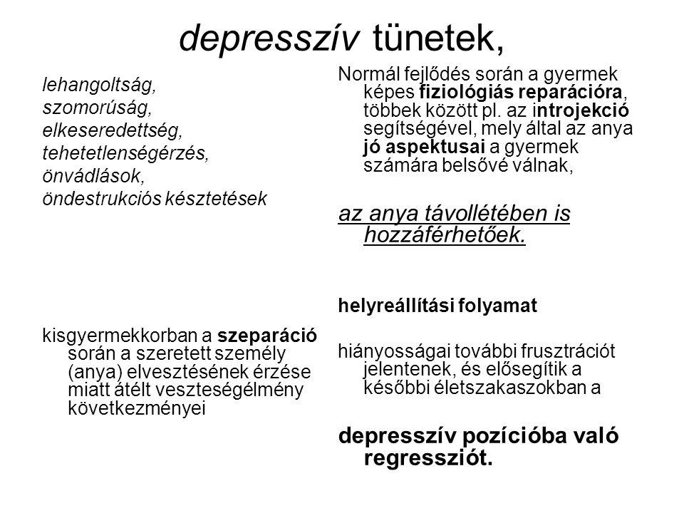 depresszív tünetek, lehangoltság, szomorúság, elkeseredettség, tehetetlenségérzés, önvádlások, öndestrukciós késztetések kisgyermekkorban a szeparáció