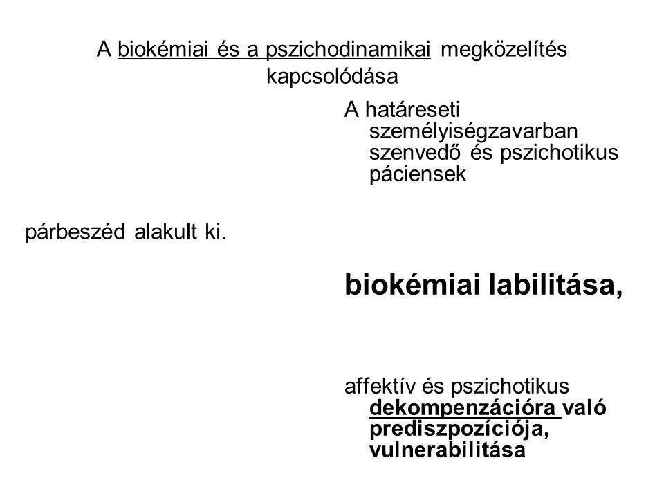 A biokémiai és a pszichodinamikai megközelítés kapcsolódása párbeszéd alakult ki. A határeseti személyiségzavarban szenvedő és pszichotikus páciensek
