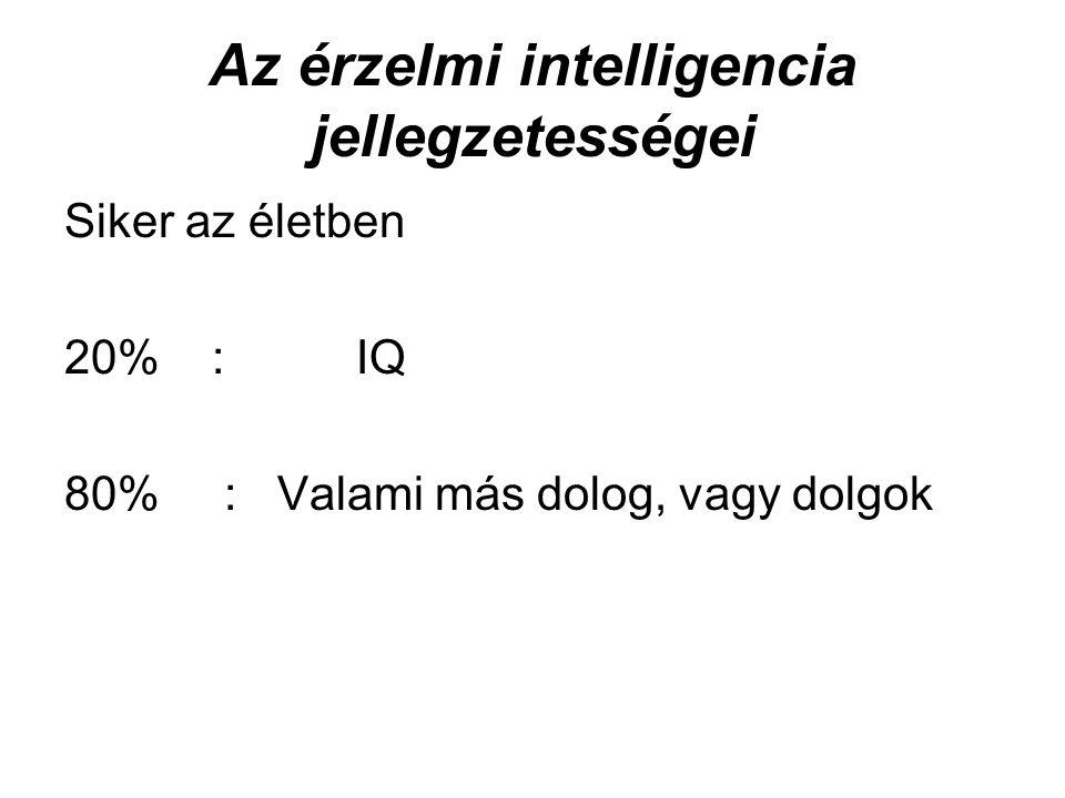 Az érzelmi intelligencia jellegzetességei Siker az életben 20% : IQ 80% : Valami más dolog, vagy dolgok