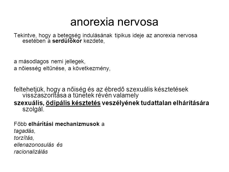 anorexia nervosa Tekintve, hogy a betegség indulásának tipikus ideje az anorexia nervosa esetében a serdülőkor kezdete, a másodlagos nemi jellegek, a nőiesség eltűnése, a következmény, feltehetjük, hogy a nőiség és az ébredő szexuális késztetések visszaszorítása a tünetek révén valamely szexuális, ödipális késztetés veszélyének tudattalan elhárítására szolgál.