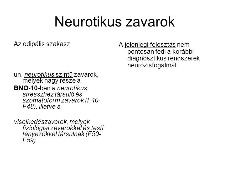Neurotikus zavarok Az ödipális szakasz un. neurotikus szintű zavarok, melyek nagy része a BNO-10-ben a neurotikus, stresszhez társuló és szomatoform z