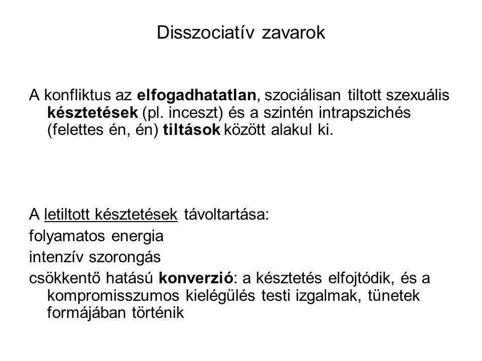 Disszociatív zavarok A konfliktus az elfogadhatatlan, szociálisan tiltott szexuális késztetések (pl.