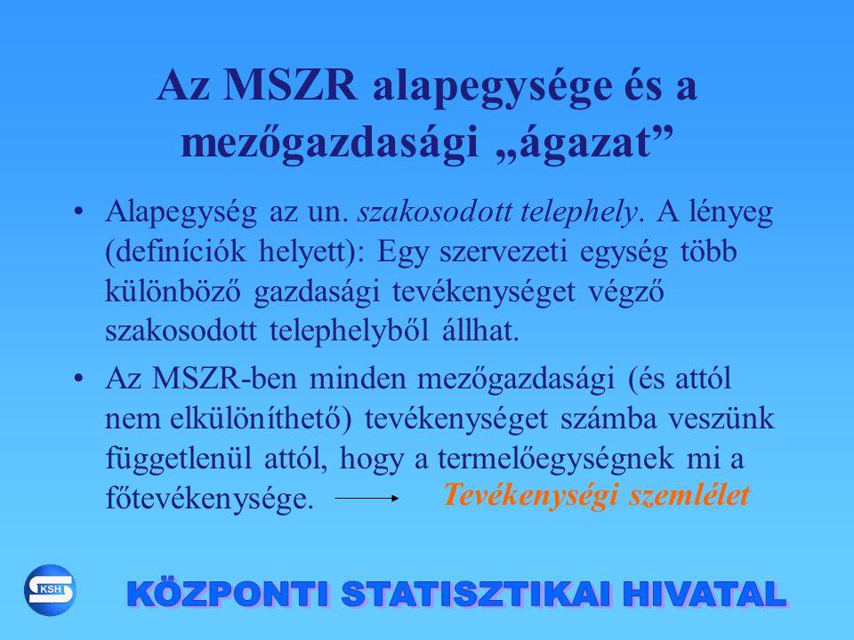 """Az MSZR alapegysége és a mezőgazdasági """"ágazat"""" Alapegység az un. szakosodott telephely. A lényeg (definíciók helyett): Egy szervezeti egység több kül"""