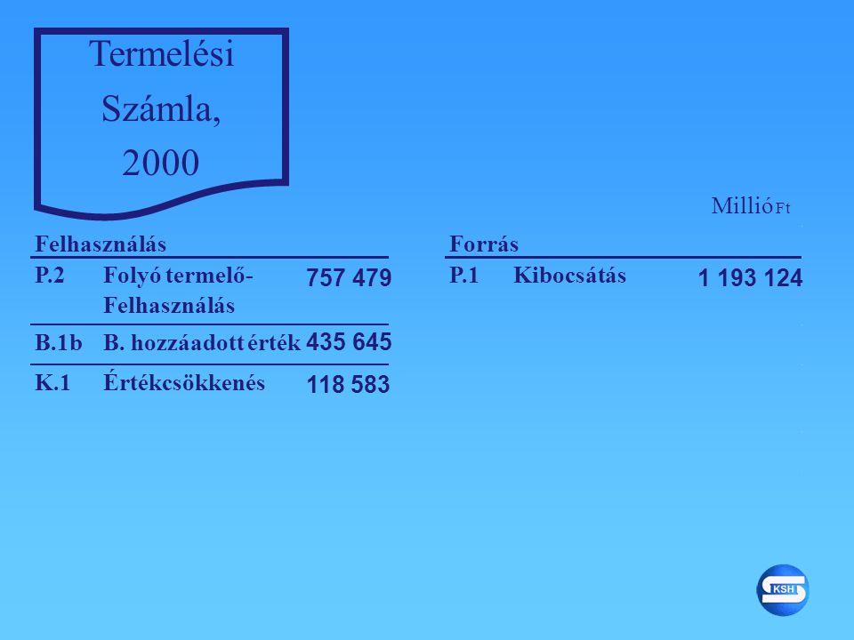 Termelési Számla, 2000 P.2Folyó termelő- Felhasználás 1 193 124 P.1Kibocsátás 757 479 B.1bB. hozzáadott érték 435 645 K.1Értékcsökkenés 118 583 Felhas