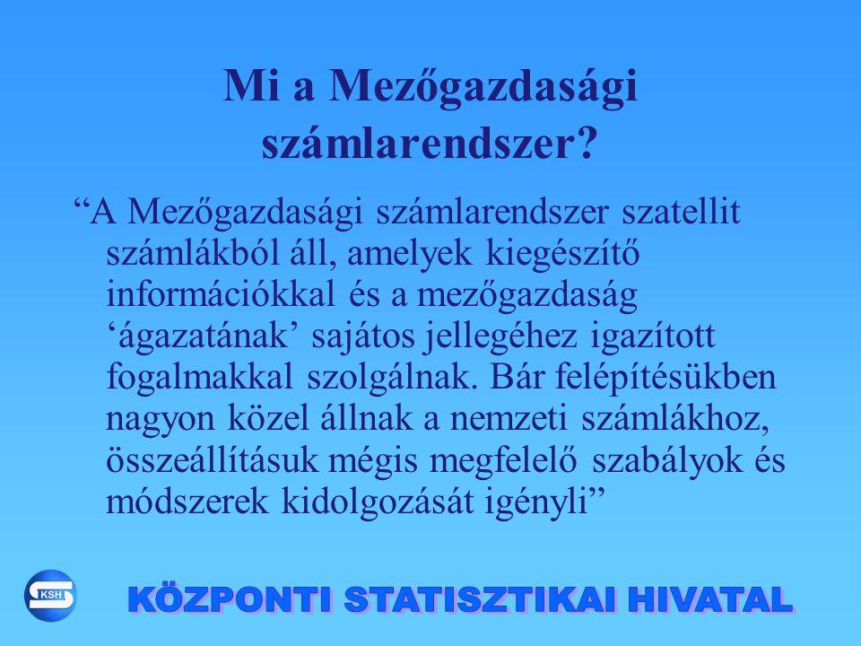 Termelési számla Vállalkozói jövedelem számla Tőkeszámla Jövedelmek ke- letkezése számla Az MSZR számlái: