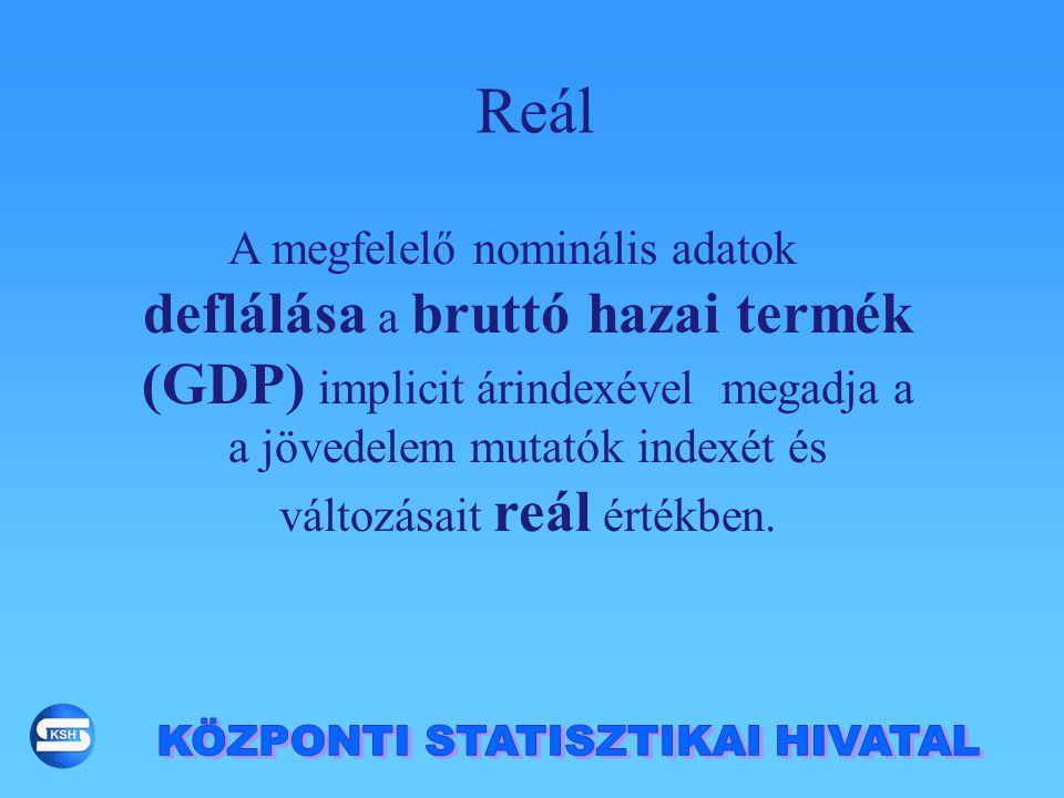 A megfelelő nominális adatok deflálása a bruttó hazai termék (GDP) implicit árindexével megadja a a jövedelem mutatók indexét és változásait reál érté