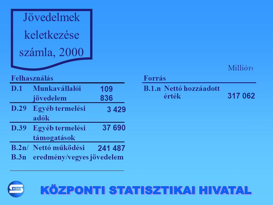 Jövedelmek keletkezése számla, 2000 D.1Munkavállalói jövedelem 109 836 B.1.nNettó hozzáadott 317 062 D.29Egyéb termelési adók 3 429 D.39Egyéb termelés