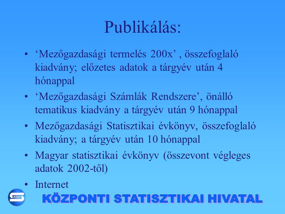 Publikálás: 'Mezőgazdasági termelés 200x', összefoglaló kiadvány; előzetes adatok a tárgyév után 4 hónappal 'Mezőgazdasági Számlák Rendszere', önálló