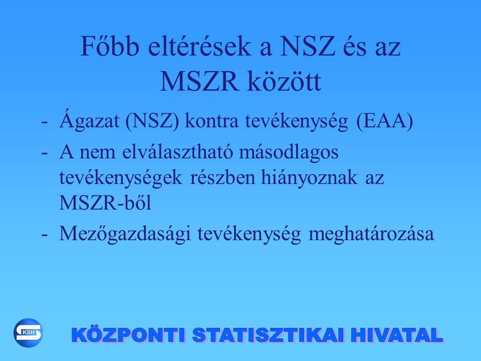 Főbb eltérések a NSZ és az MSZR között -Ágazat (NSZ) kontra tevékenység (EAA) -A nem elválasztható másodlagos tevékenységek részben hiányoznak az MSZR