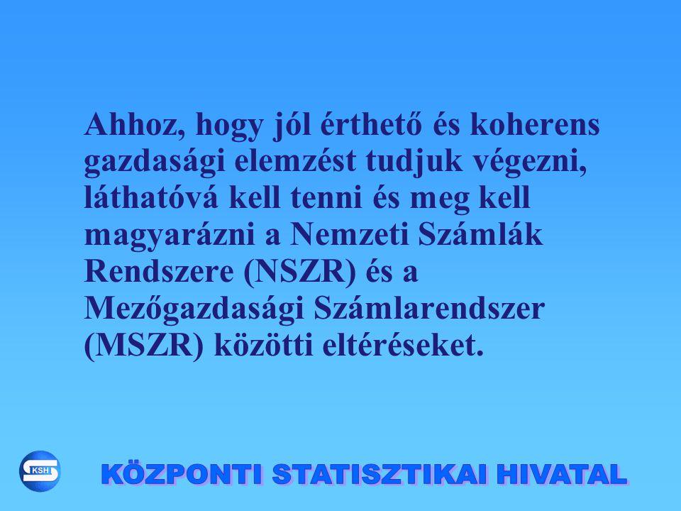 Publikálás: 'Mezőgazdasági termelés 200x', összefoglaló kiadvány; előzetes adatok a tárgyév után 4 hónappal 'Mezőgazdasági Számlák Rendszere', önálló tematikus kiadvány a tárgyév után 9 hónappal Mezőgazdasági Statisztikai évkönyv, összefoglaló kiadvány; a tárgyév után 10 hónappal Magyar statisztikai évkönyv (összevont végleges adatok 2002-től) Internet