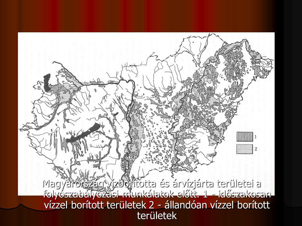 Magyarország vízborította és árvízjárta területei a folyószabályozási munkálatok előtt. 1 - időszakosan vízzel borított területek 2 - állandóan vízzel