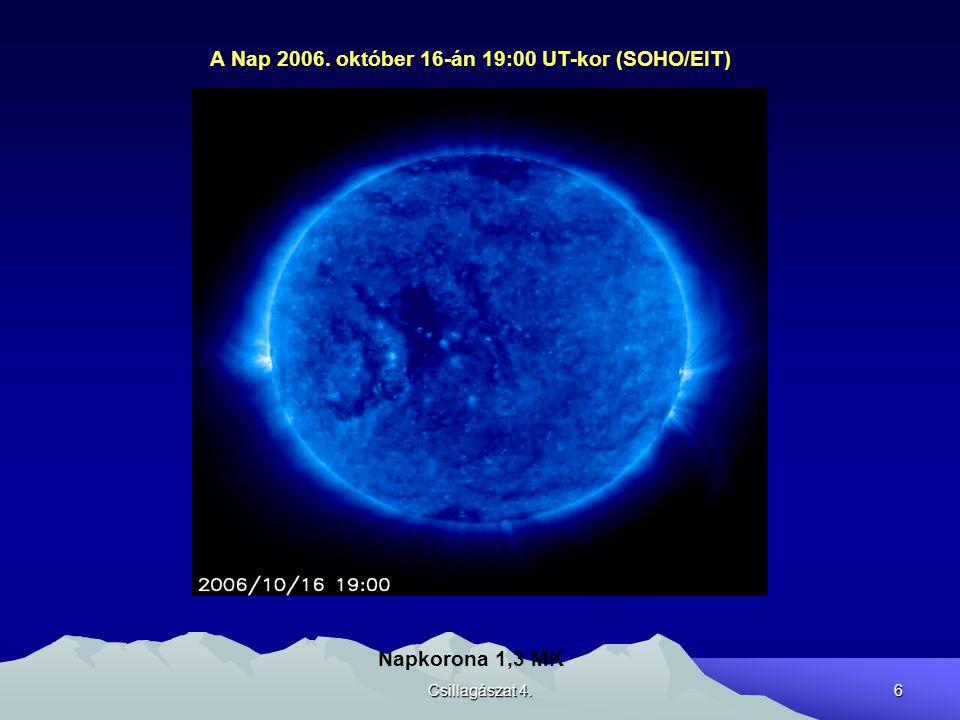 Csillagászat 4.7 A Nap 2006. október 16-án 019:06 UT-kor (SOHO/EIT) Napkorona 2 MK