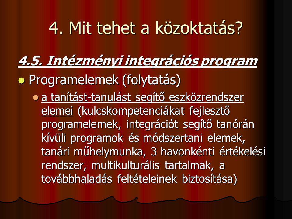 4. Mit tehet a közoktatás? 4.5. Intézményi integrációs program Programelemek (folytatás) Programelemek (folytatás) a tanítást-tanulást segítő eszközre