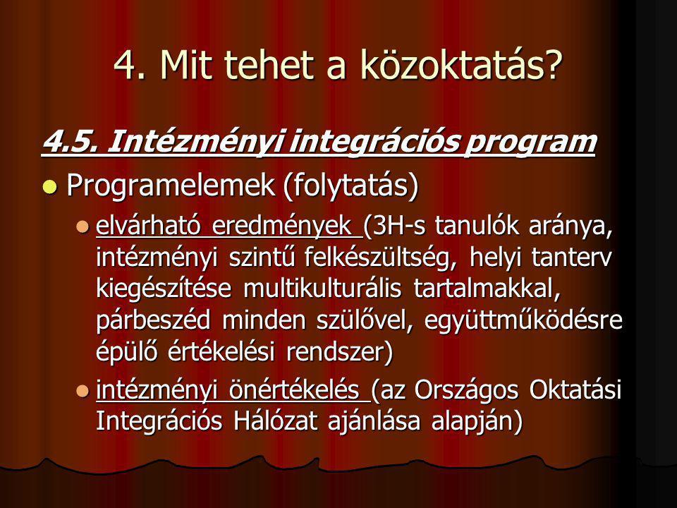 4. Mit tehet a közoktatás? 4.5. Intézményi integrációs program Programelemek (folytatás) Programelemek (folytatás) elvárható eredmények (3H-s tanulók