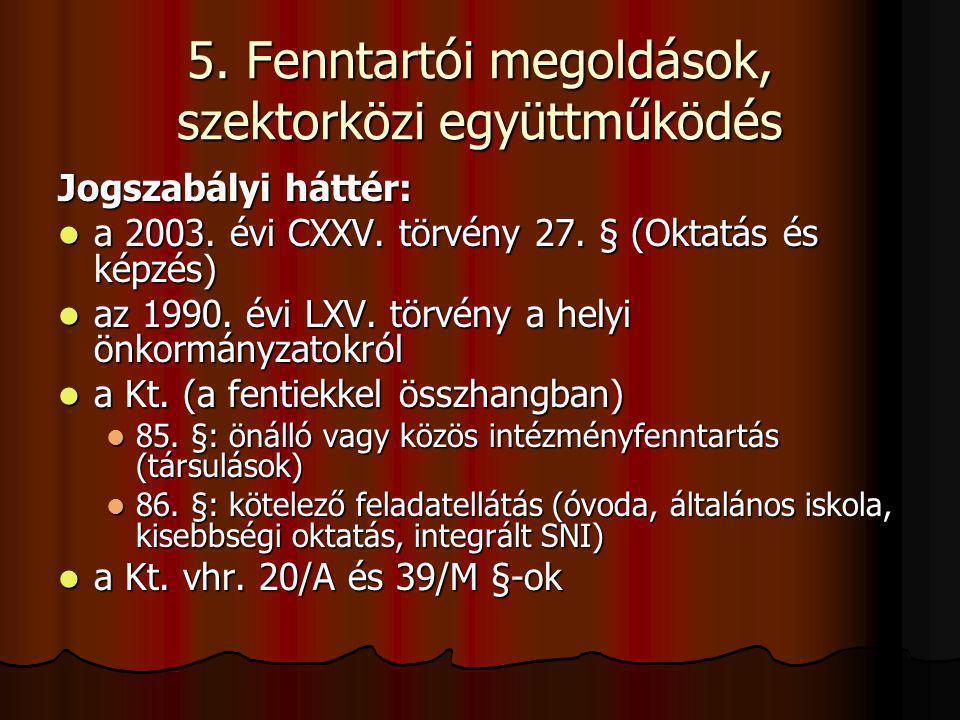 5. Fenntartói megoldások, szektorközi együttműködés Jogszabályi háttér: a 2003. évi CXXV. törvény 27. § (Oktatás és képzés) a 2003. évi CXXV. törvény