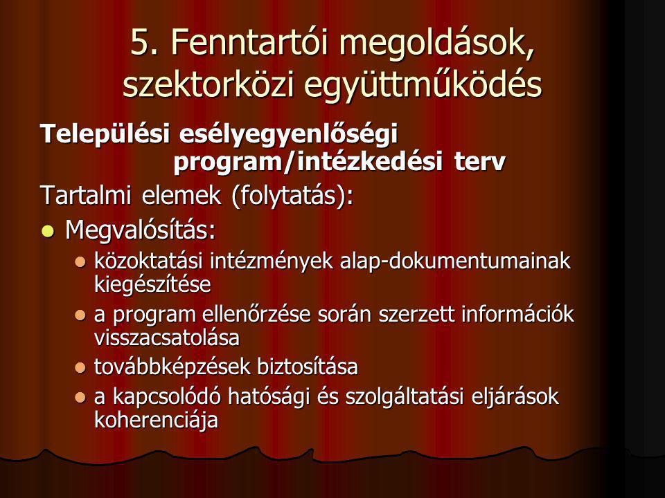 5. Fenntartói megoldások, szektorközi együttműködés Települési esélyegyenlőségi program/intézkedési terv Tartalmi elemek (folytatás): Megvalósítás: Me