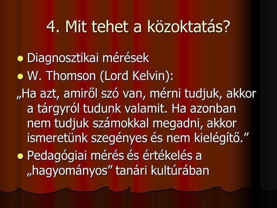 """4. Mit tehet a közoktatás? Diagnosztikai mérések Diagnosztikai mérések W. Thomson (Lord Kelvin): W. Thomson (Lord Kelvin): """"Ha azt, amiről szó van, mé"""