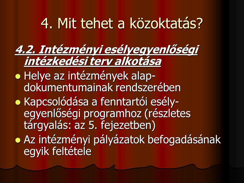 4. Mit tehet a közoktatás? 4.2. Intézményi esélyegyenlőségi intézkedési terv alkotása Helye az intézmények alap- dokumentumainak rendszerében Helye az