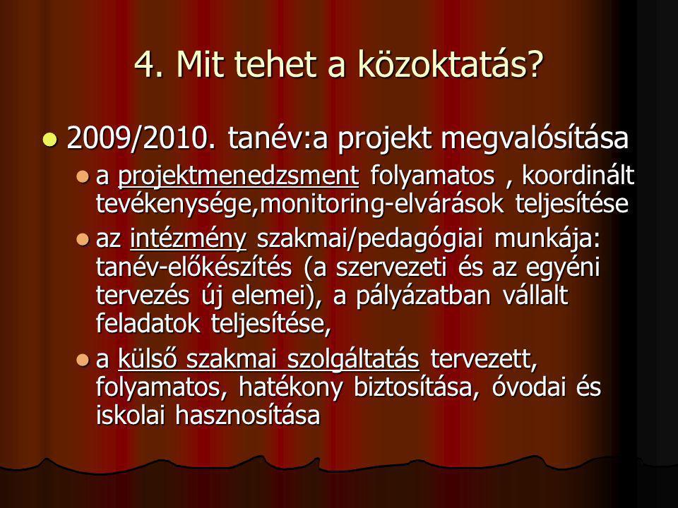 4. Mit tehet a közoktatás? 2009/2010. tanév:a projekt megvalósítása 2009/2010. tanév:a projekt megvalósítása a projektmenedzsment folyamatos, koordiná