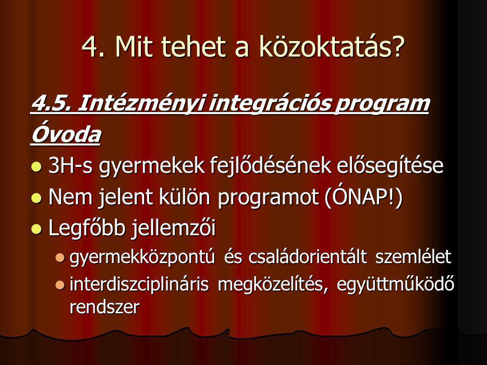 4. Mit tehet a közoktatás? 4.5. Intézményi integrációs program Óvoda 3H-s gyermekek fejlődésének elősegítése 3H-s gyermekek fejlődésének elősegítése N