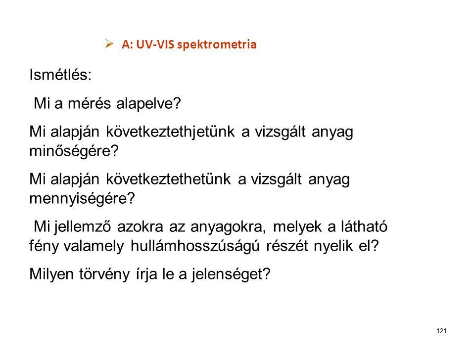 121  A: UV-VIS spektrometria Ismétlés: Mi a mérés alapelve? Mi alapján következtethjetünk a vizsgált anyag minőségére? Mi alapján következtethetünk a