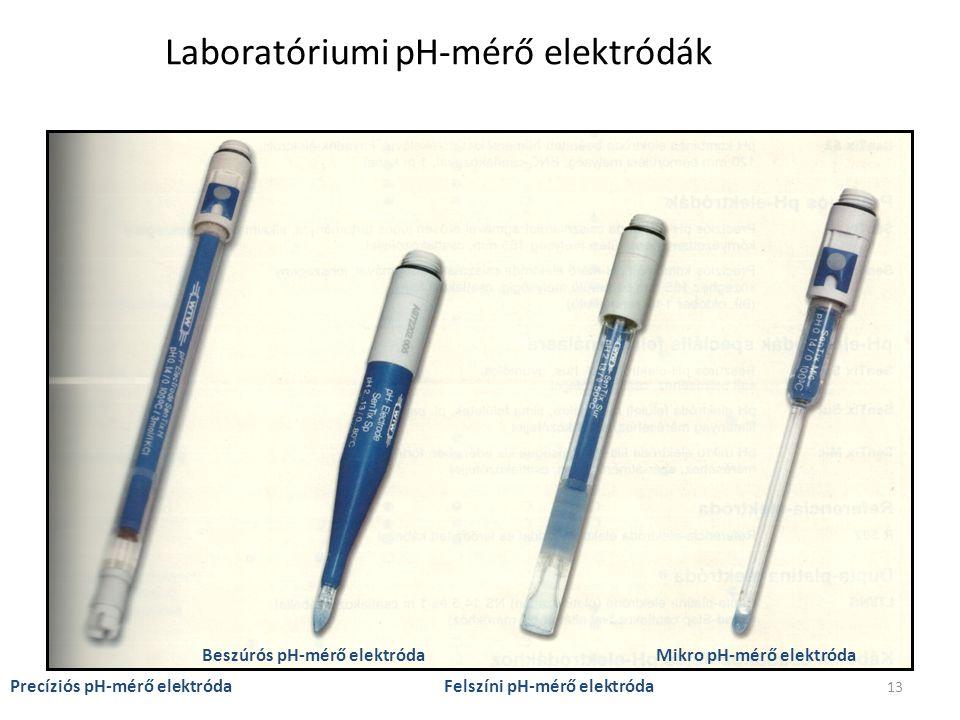 13 Laboratóriumi pH-mérő elektródák Precíziós pH-mérő elektróda Beszúrós pH-mérő elektróda Felszíni pH-mérő elektróda Mikro pH-mérő elektróda