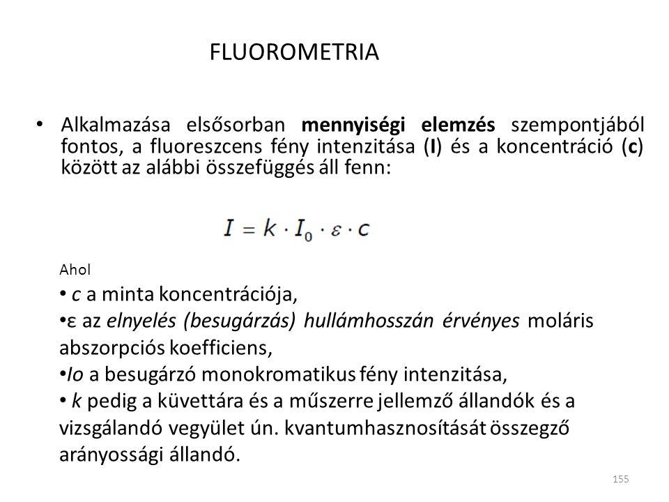 155 FLUOROMETRIA Alkalmazása elsősorban mennyiségi elemzés szempontjából fontos, a fluoreszcens fény intenzitása (I) és a koncentráció (c) között az a