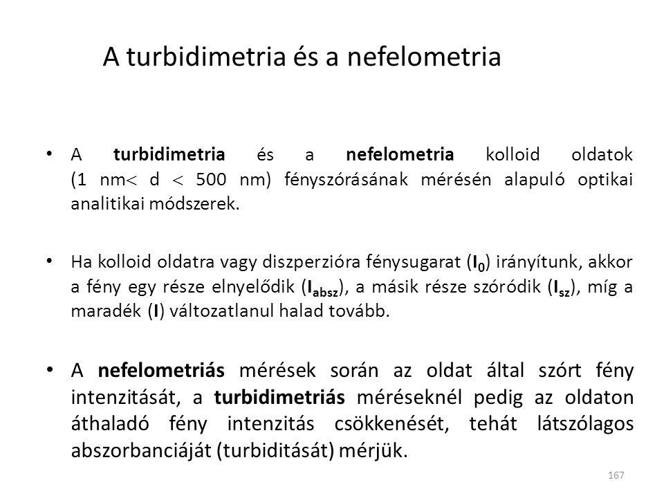 167 A turbidimetria és a nefelometria A turbidimetria és a nefelometria kolloid oldatok (1 nm  d  500 nm) fényszórásának mérésén alapuló optikai ana