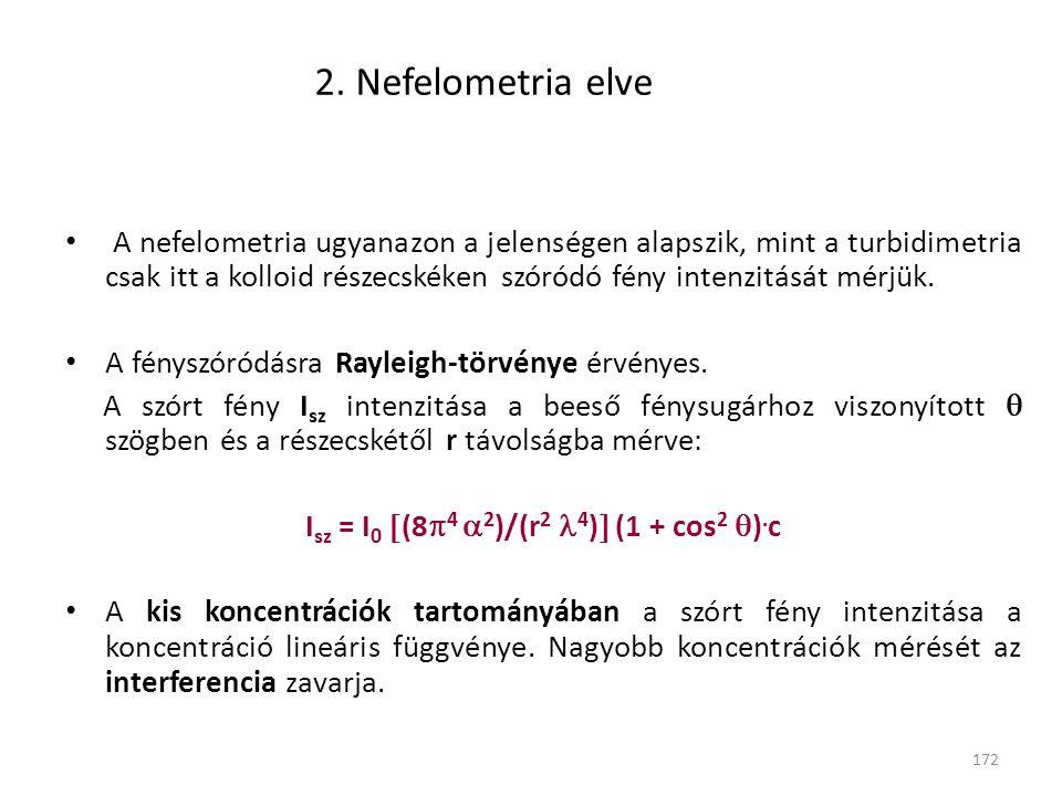 172 2. Nefelometria elve A nefelometria ugyanazon a jelenségen alapszik, mint a turbidimetria csak itt a kolloid részecskéken szóródó fény intenzitásá
