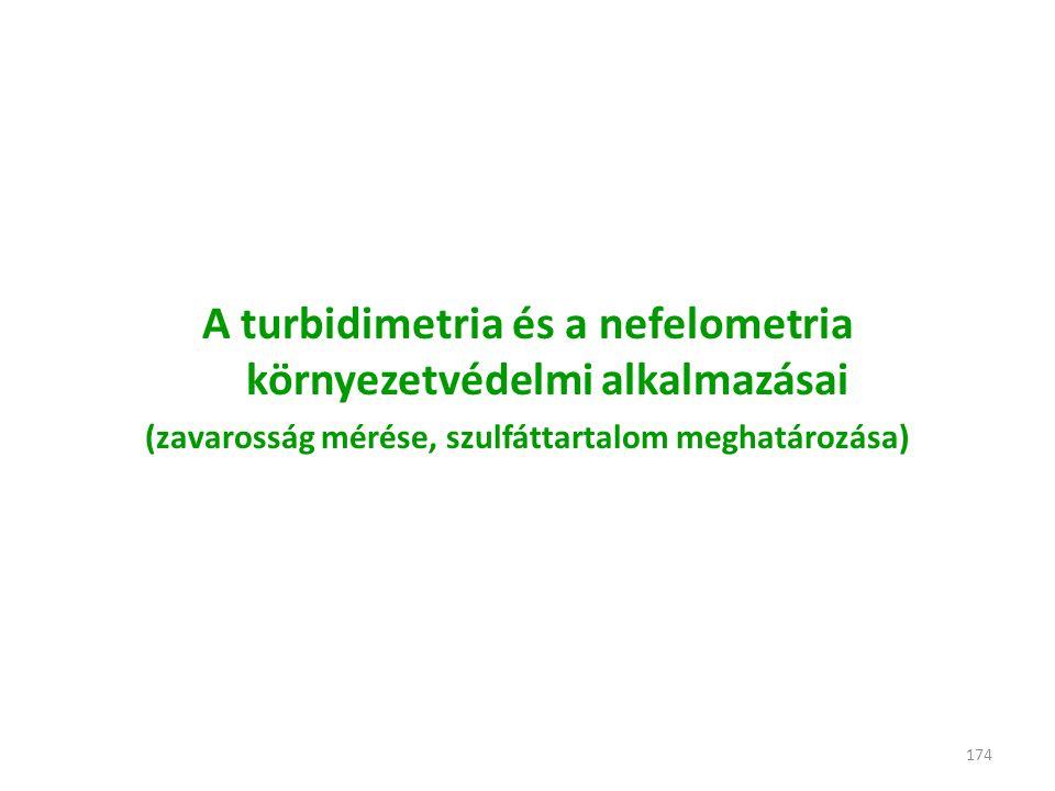 174 A turbidimetria és a nefelometria környezetvédelmi alkalmazásai (zavarosság mérése, szulfáttartalom meghatározása)