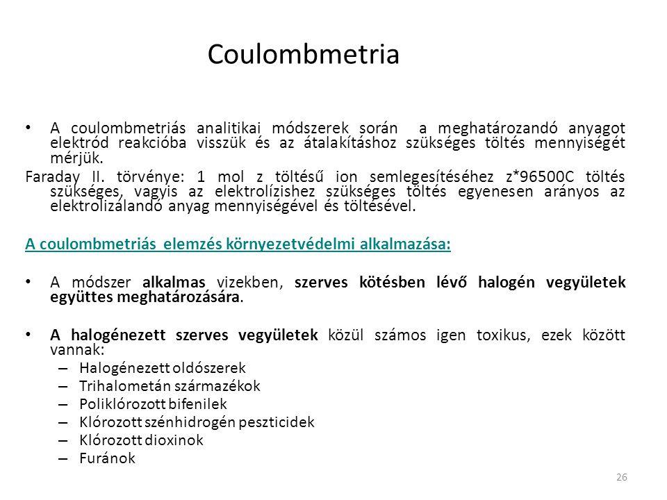 26 Coulombmetria A coulombmetriás analitikai módszerek során a meghatározandó anyagot elektród reakcióba visszük és az átalakításhoz szükséges töltés