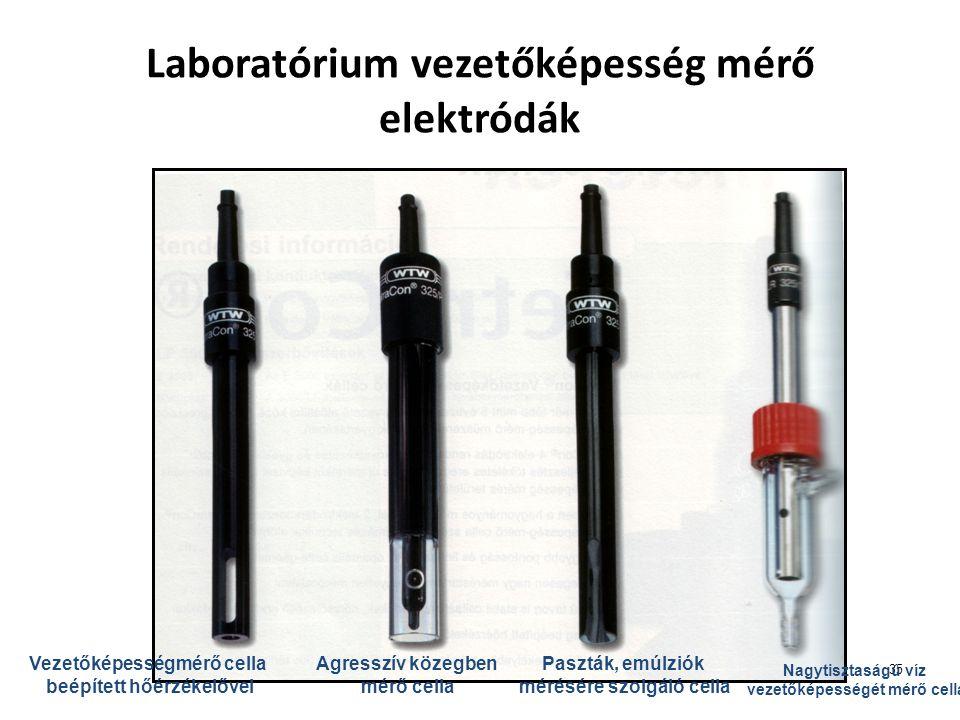 35 Laboratórium vezetőképesség mérő elektródák Vezetőképességmérő cella beépített hőérzékelővel Agresszív közegben mérő cella Paszták, emúlziók mérésé